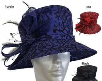 5803323f Women's Lace Covered Medium Brim Special Occasion Kentucky Derby Style  Straw Sinamay Church Dressy Hat