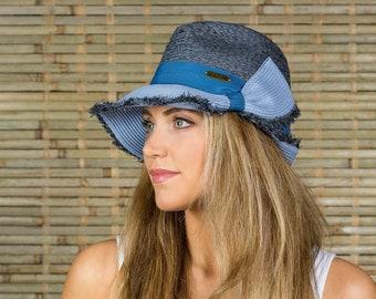 c064b4f9ef1 Hatch Hats Women s Raffia Straw Sunhat Summer Travel Vacation Packable  Gambler Safari Fedora Hat Blue