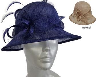 9ceaf57da4b45 Purple or Natural Women s Medium Shaped Straw Sinamay Hat