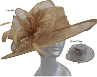 e33c28c784a9e Women s Large Brim Straw Sinamay hat for Special Occasion Kentucky Derby  Wedding church Bridal