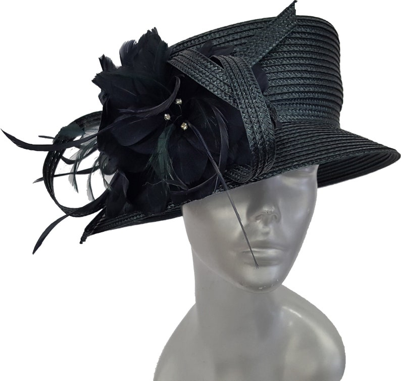 4028aa861eb Swan Hat Navy Polyester Braid Year Around Dressy church