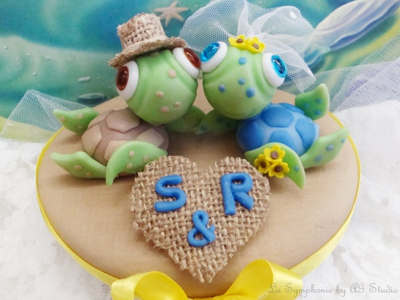 Lovely Sea Turtle Wedding Cake Topper. Custom wedding cake   Etsy
