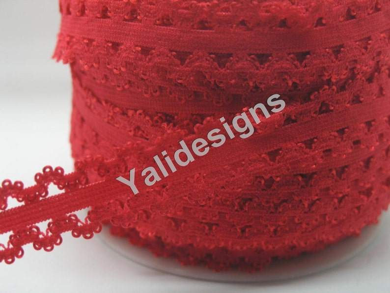 Frilly edges elastic webbing,Lace for Headbands,Wholesale Headbands YTA35D U Pick 1 or 5 or 10 Yards Red 34/'/'  Picot Edge Stretch Lace
