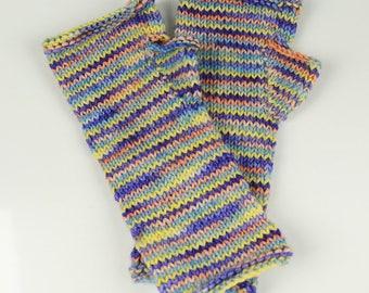 Striped Handknitted Wrist-warmers / half mittens Size XS