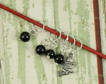 Knitting/Progress Marker Set of 5 Black with Witch Charm