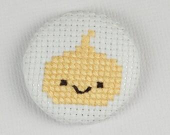 Kawaii Yellow Onion - Cross Stitched Needle Minder