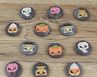 Happy Kawaii Halloween - Cross Stitched Needle Minder - Candy Corn, Ghost, Lollypop, Broom, Frankenstein, Pumpkin