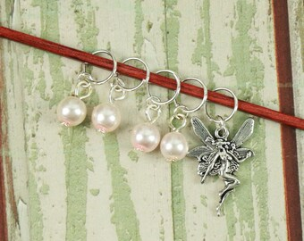 Knitting Marker Set of 5 Dusty Pink with Fairy Charm