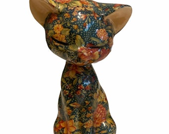 "Vintage Ceramic Chintz Floral Sitting Cat Figurine Statue 7"""