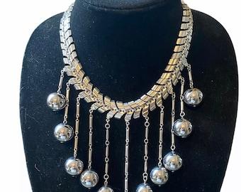 Vintage Silver Metal Balls Necklace Graduated V Shape Statement Necklace