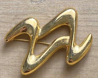 Art Deco Large Swirl Waves Brooch GoldTone