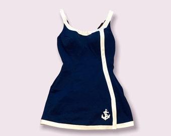 VTG Rose Marie Reid  Swimsuit Navy Blue Sailor Skirt/Dress