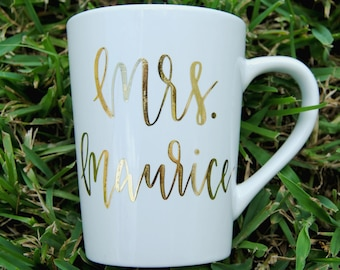 PERSONALIZED Teacher Gift Hand Lettered Gold Foil Coffee/tea Mug