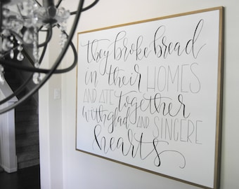 They Broke Bread In Their Homes Framed Canvas Wall Art