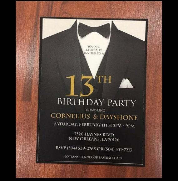 Suit and Tie graphic invitation