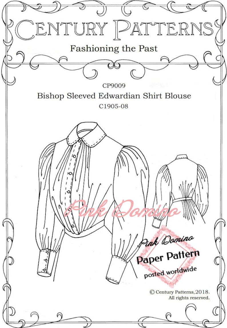Edwardian Sewing Patterns- Dresses, Skirts, Blouses, Costumes Edwardian Bishop Sleeved Shirt Blouse Pattern c1905-1908 Century Patterns. Multi-Sized Bust 30 to 48 inches. $22.86 AT vintagedancer.com