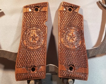TEXAS State Seal, Colt Mk IV Series 80, .380 Grips Made From WALNUT