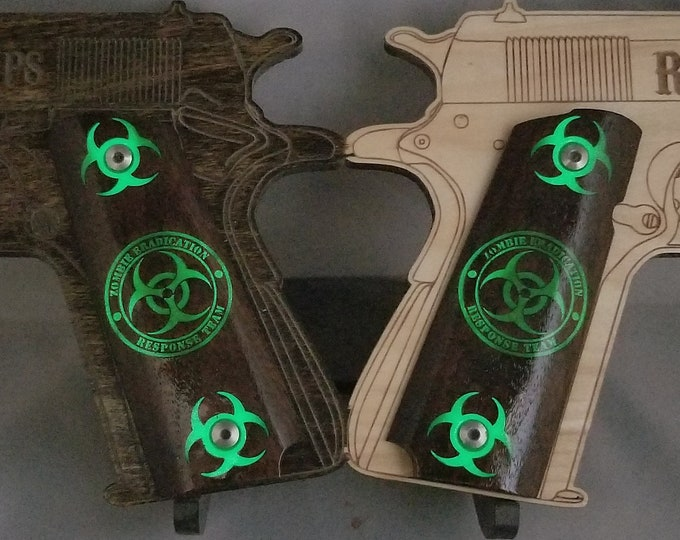 GLOWING ZERT Zombie Eradication Resource Team Engraved and Inlaid Full size 1911 grips