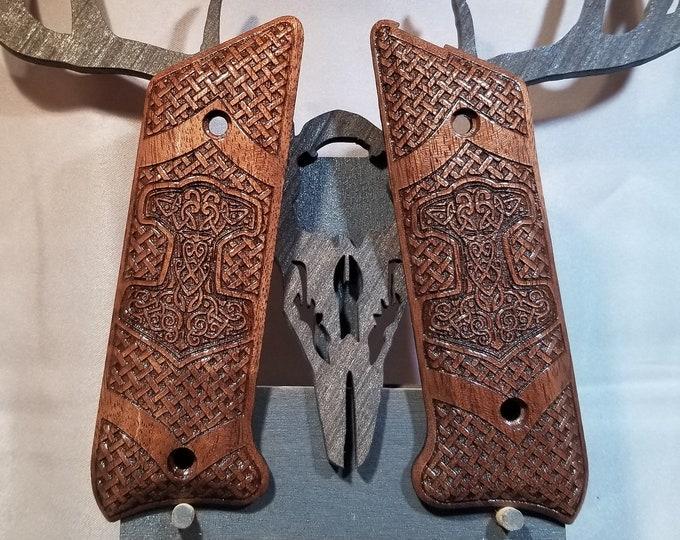Ruger MkII Thors Hammer Mjolnir Basket weave engraved Grips