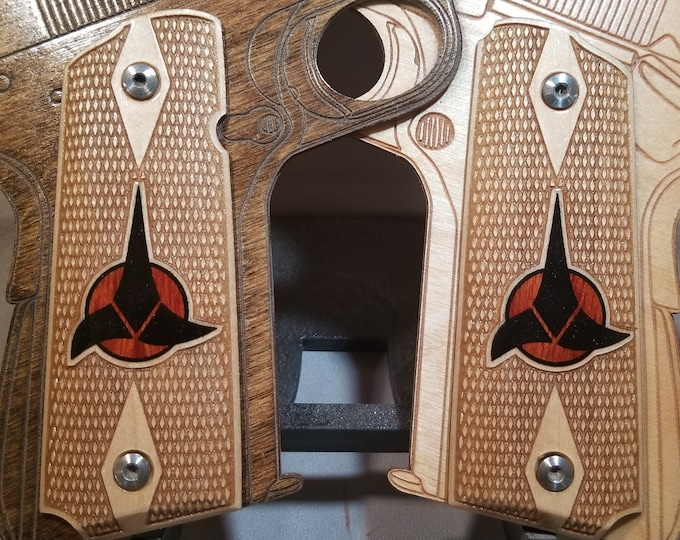 Full size 1911 grips With Inlaid Star Trek Klingon logo