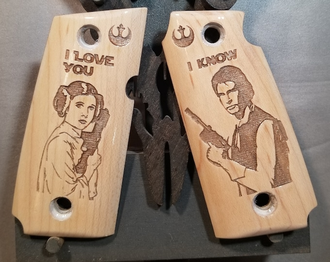 Star Wars Han and Leia Engraved KIMBER MICRO 9 grips