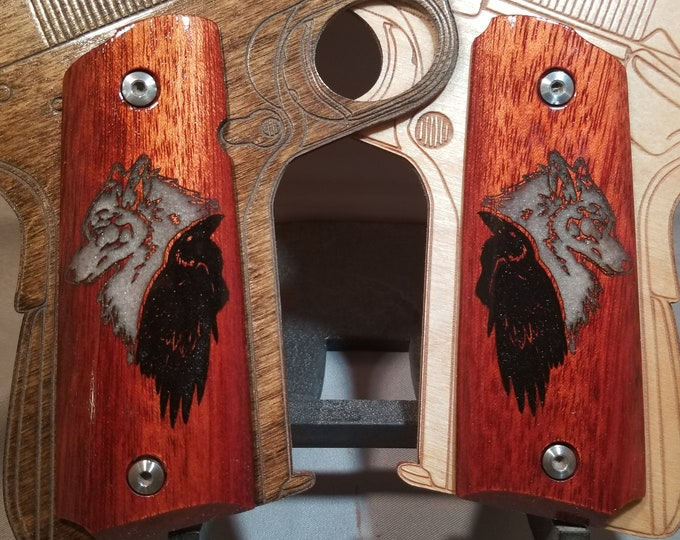 Full size 1911 grips Inlaid Wolf and Raven