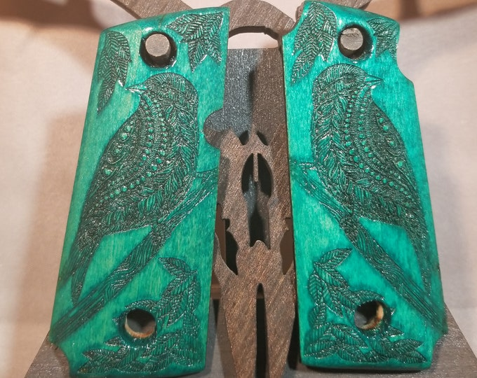 Kimber Micro 380 with engraved Perched Bird and Leaves