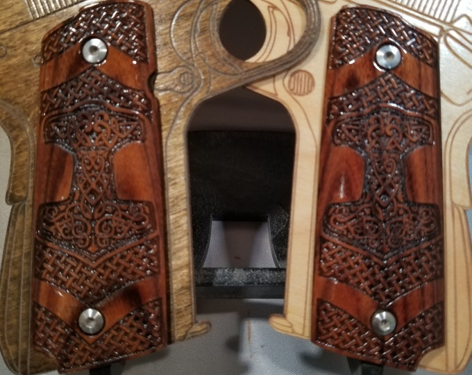 Viking Thors Hammer and Basket Weave engraved Rosewood Full Size 1911 Grips