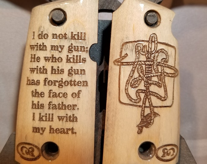 Kimber Micro 9 GUNSLINGER Quote and Rope/Raven engraved grips