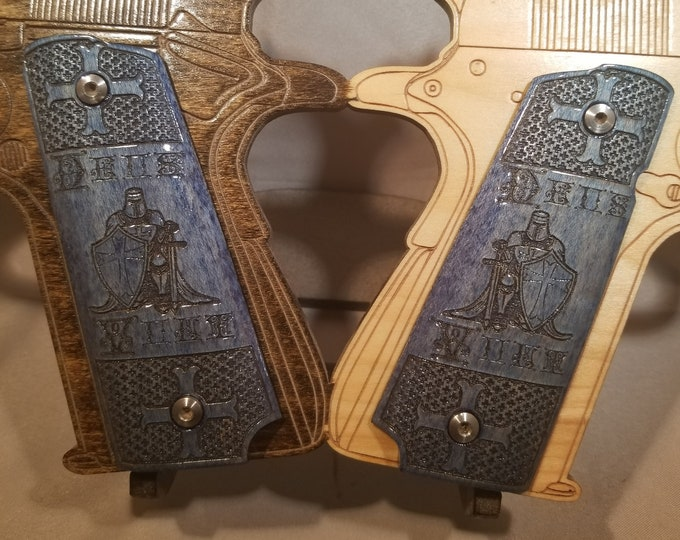 Crusader Deus Vult Engraved Full size 1911 grips
