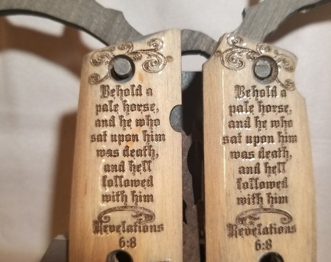 Revelation 6:8 Pale Horse Engraved KIMBER MICRO 9 grips
