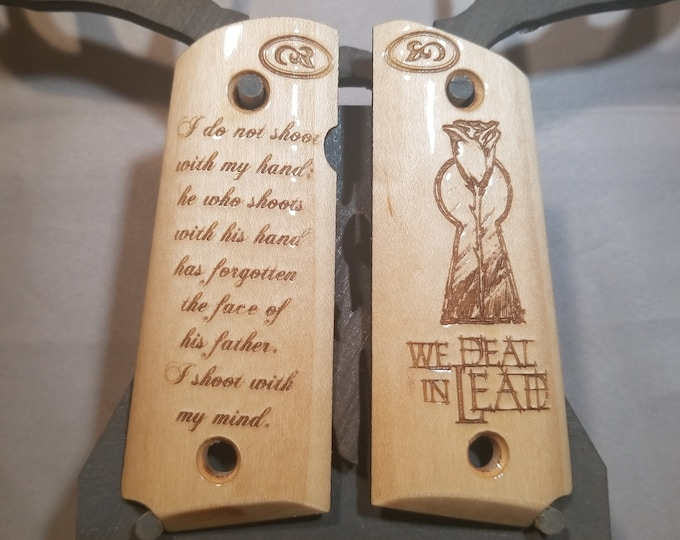 1911 COMPACT Gunslinger Keyhole and Rose with Quote engraved MAPLE Grips