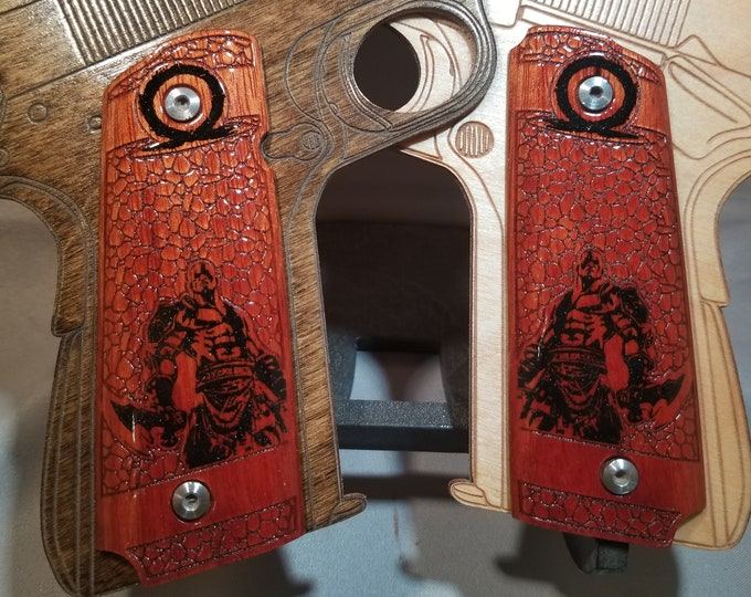 KRATOS Ghost of Sparta, God of War Engraved and Inlaid Full size 1911 grips