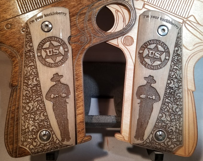 Full Size 1911 I'm Your Huckleberry US Marshall Doc Holiday Engraved  grips