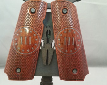 III% (3 percent) Silver inlay on Bloodwood Full size 1911 grips