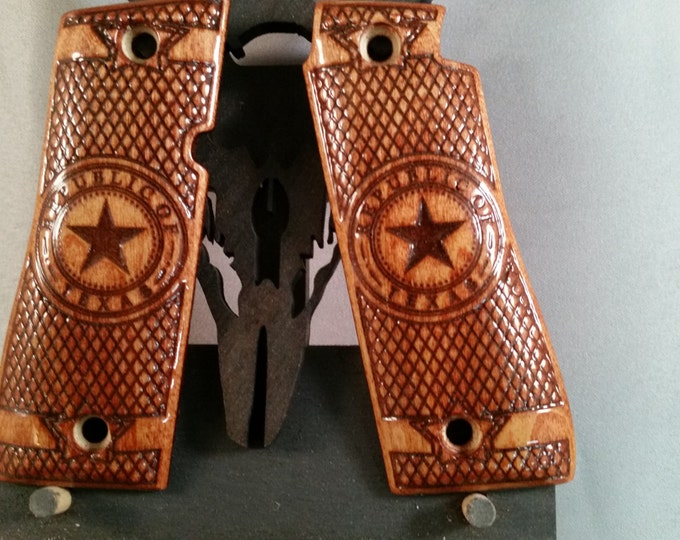 Republic of Texas, Colt Mk IV Series 80, .380 Grips Made From Poplar