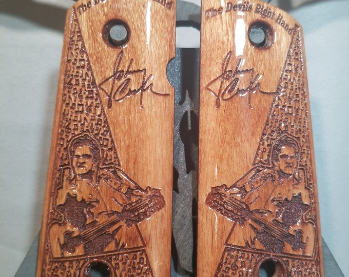 "Johnny Cash ""Devils Right Hand"" Engraved COMPACT 1911 grips"
