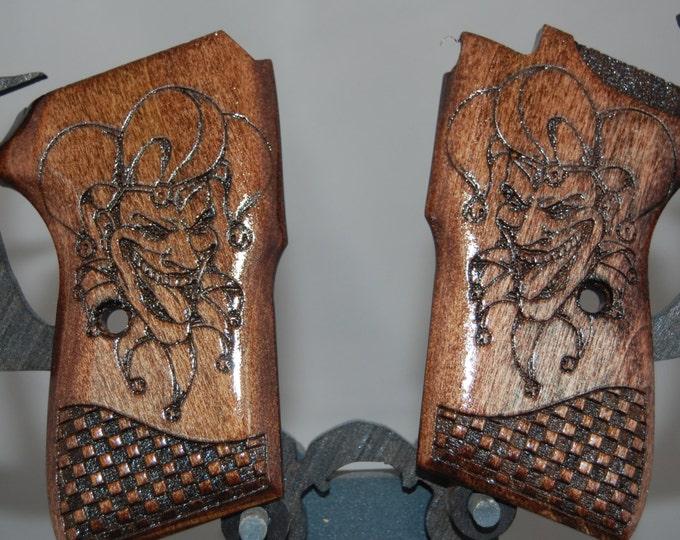 Bersa Thunder 380 Grips made from Poplar with Evil Joker/Clown