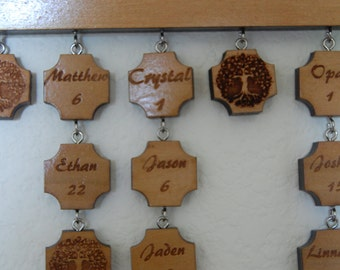 Name and Day tokens for FAMILY BIRTHDAY plaque