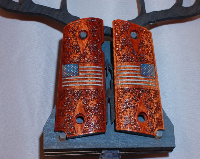 United States Flag inlaid (glow) 1911 Compact Bloodwood grips