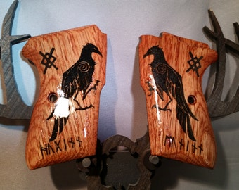 Bersa Thunder 380 Grips made from OAK with Huginn and Muninn Viking runes