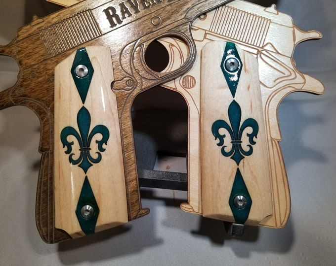 1911 Full Size Green/Purple Fleur De Lis inlaid Grips