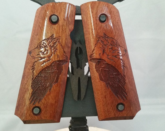 Raven and Wolf engraved on Blood Wood Full size 1911 grips