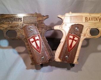 1911 Full Size CRUSADER double inlaid Grips