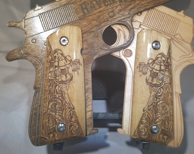 Beer Girl Engraved Full size 1911 grips