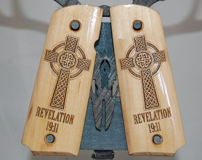 1911 Full Size REVELATION 19:11 Celtic Cross engraved MAPLE Grips