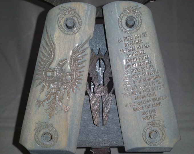 Viking Raven and Viking Prayer engraved  Full Size 1911 Grips