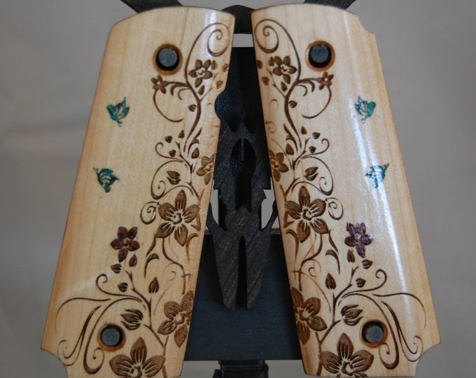 1911 Full Size Stone and Ruby Inlaid Flowers and Butterfly Grips
