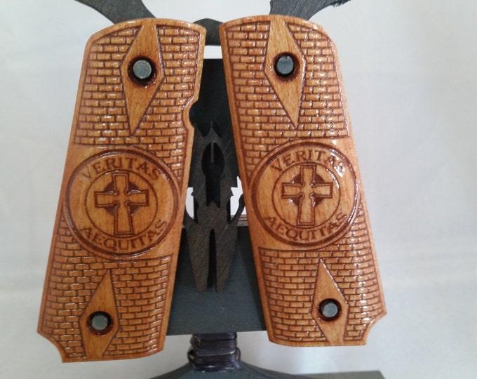 Boondock Saints Veritas Aequitas  engraved 1911 Grips