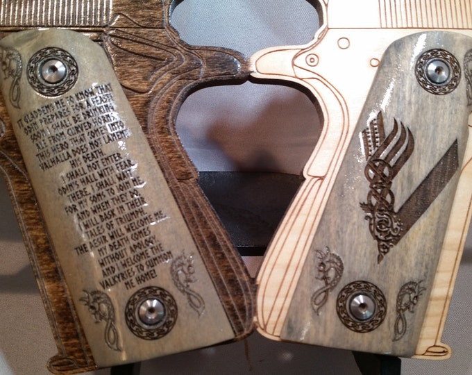 Viking Logo and Viking Prayer from Ragnar Lothbrok/Lodbrok engraved  Full Size 1911 Grips
